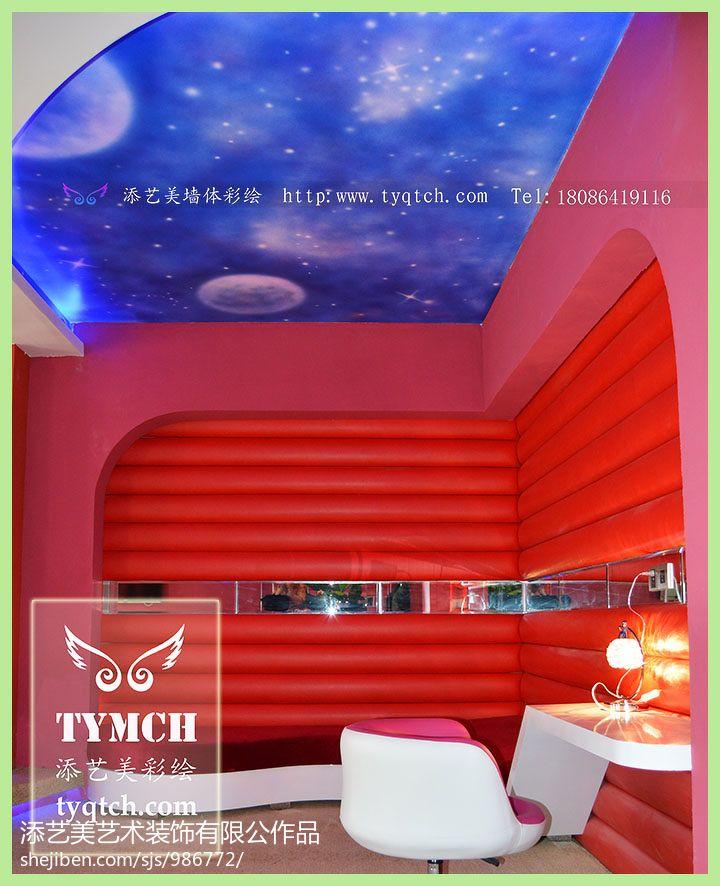 混搭酒店休息区吊顶彩绘效果图酒店空间设计图片赏析