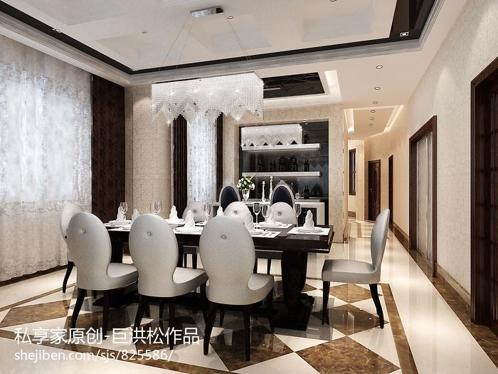 浪漫982平现代别墅餐厅效果图厨房现代简约餐厅设计图片赏析