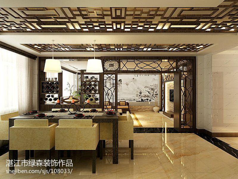 轻奢121平中式三居餐厅实景图厨房中式现代餐厅设计图片赏析