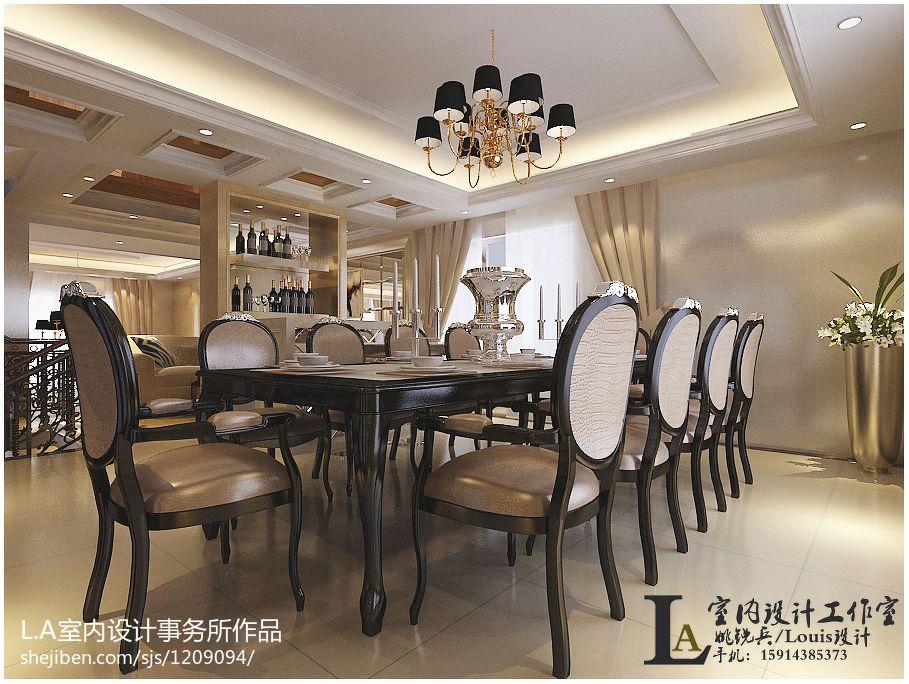 2018面积143平别墅餐厅欧式实景图片欣赏厨房欧式豪华餐厅设计图片赏析
