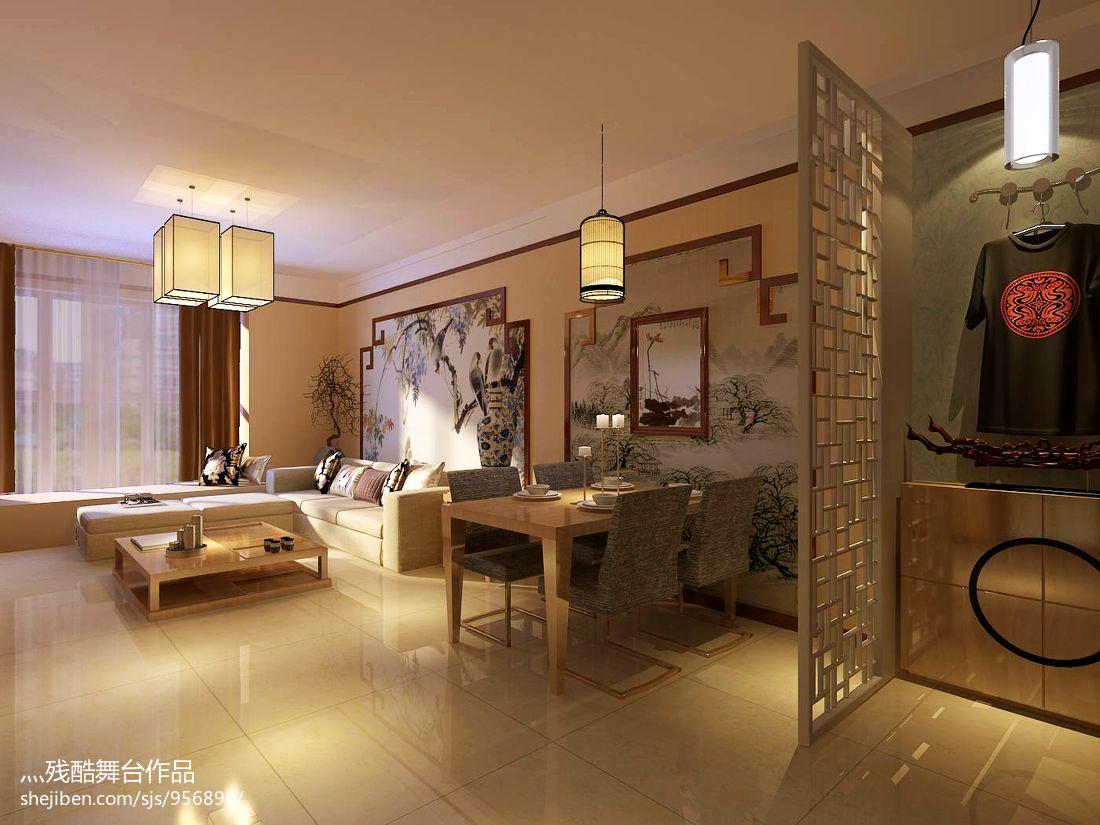简洁90平中式二居装修装饰图功能区中式现代功能区设计图片赏析