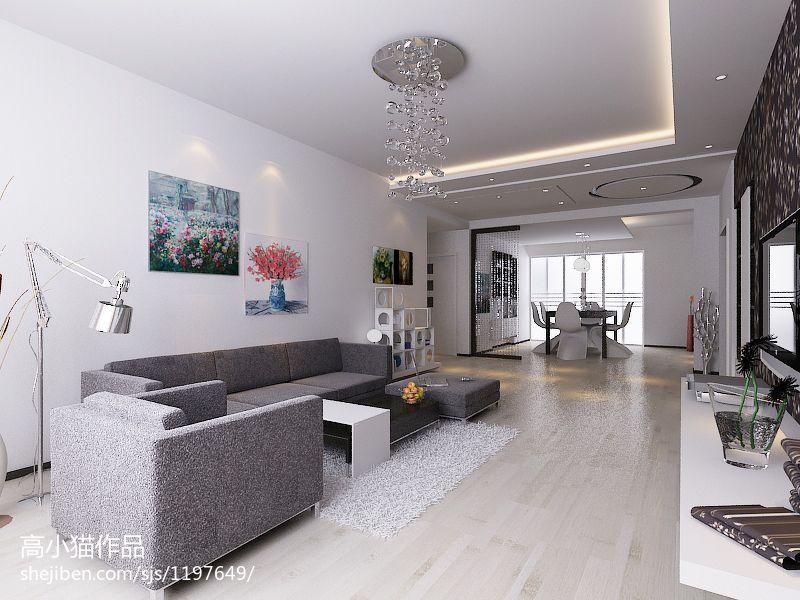 精选100平米三居现代实景图片大全客厅现代简约客厅设计图片赏析
