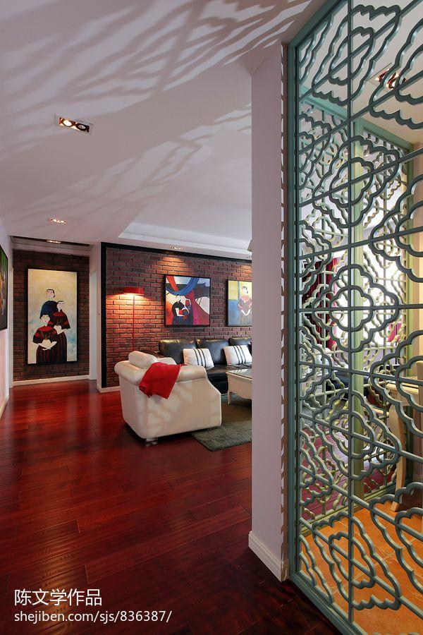 2018精选95平米三居过道新古典装修设计效果图片功能区木地板美式经典功能区设计图片赏析