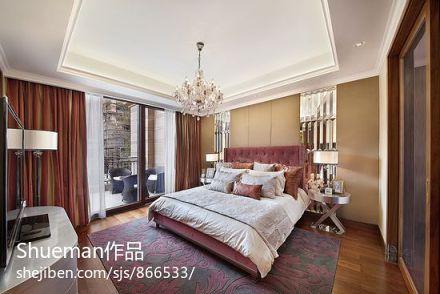 2018101平米三居卧室新古典装修实景图三居美式经典家装装修案例效果图
