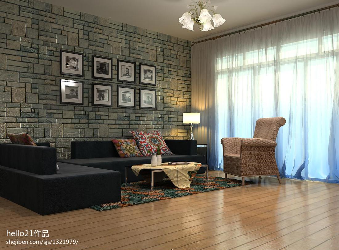 质朴35平新古典小户型休闲区效果图功能区