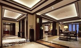 2018120平米中式别墅玄关装饰图片