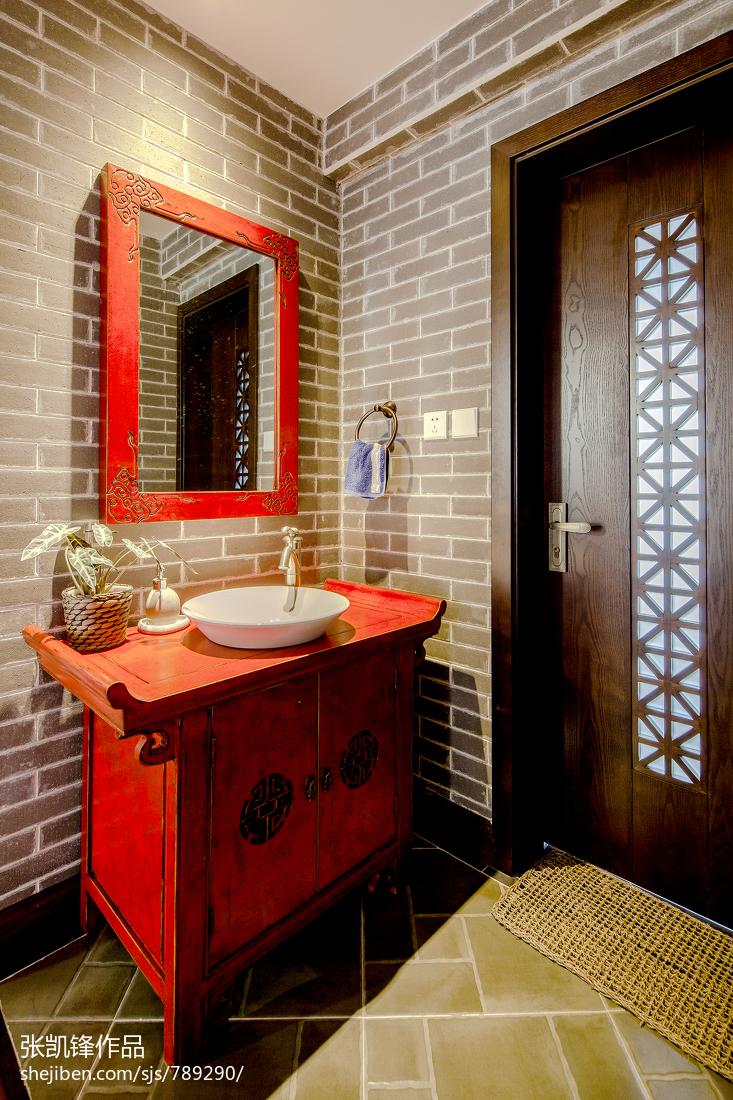 平层中式玄关鞋柜装修图片卫生间中式现代卫生间设计图片赏析