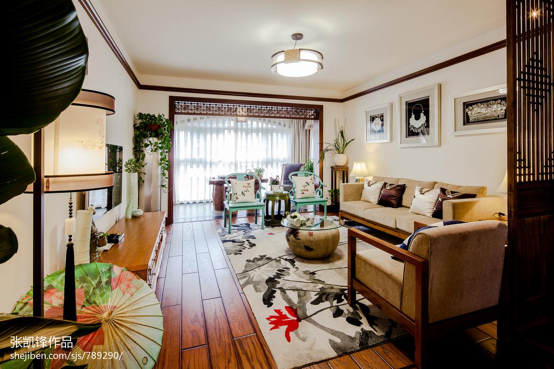 中式客厅吊灯客厅中式现代客厅设计图片赏析