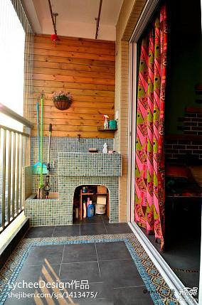 热门91平米三居阳台美式装修实景图片大全