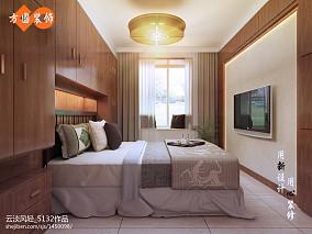 质朴86平中式三居卧室装修案例
