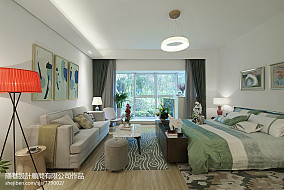 现代风格样板间卧室背景墙装修效果图样板间潮流混搭家装装修案例效果图