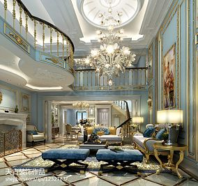 热门116平米欧式别墅客厅装修实景图