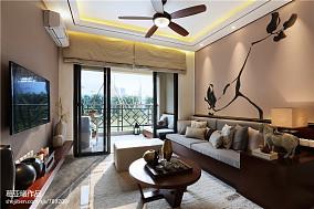 小户型中式客厅背景墙装修效果图大全2017图片一居中式现代家装装修案例效果图