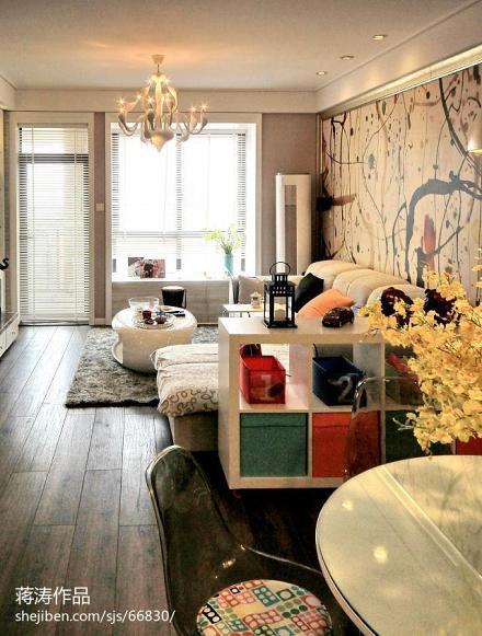 2018大小78平现代二居客厅设计效果图二居现代简约家装装修案例效果图