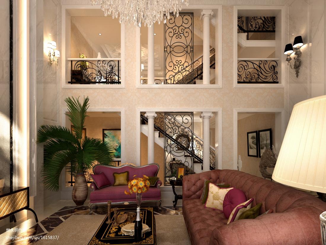 2018精选143平米欧式别墅客厅装修设计效果图片欣赏客厅