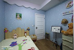 现代家装儿童房蓝色壁纸效果图卧室现代简约卧室设计图片赏析