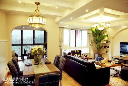 平米三居餐厅美式装修效果图片大全客厅窗帘101-120m²美式经典家装装修案例效果图