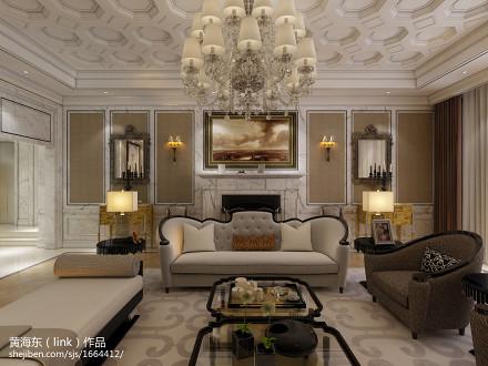 别墅客厅新古典装修效果图片欣赏151-200m²别墅豪宅美式经典家装装修案例效果图