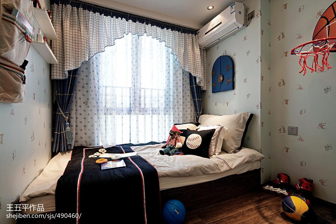 样板房现代儿童房装修效果图卧室窗帘现代简约卧室设计图片赏析
