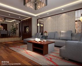精选面积102平中式三居客厅实景图