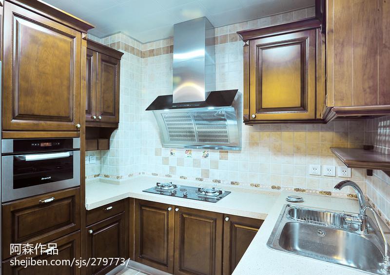 热门中式复式厨房装修实景图餐厅中式现代厨房设计图片赏析