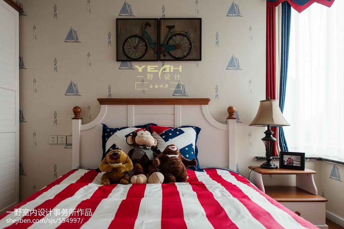 三居室美式风格儿童房背景墙装修效果图卧室美式经典卧室设计图片赏析