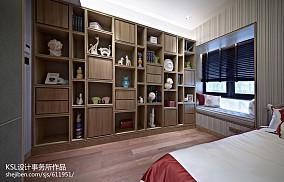 新中式风格样板房卧室博古架装修效果图大全