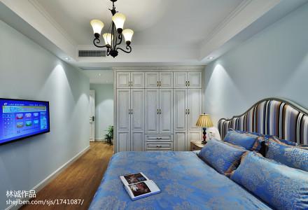 精选面积107平美式三居卧室欣赏图卧室