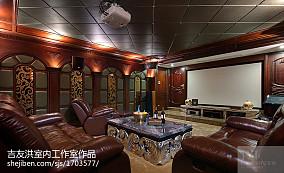 奢华美式风格视听室家庭影院效果图