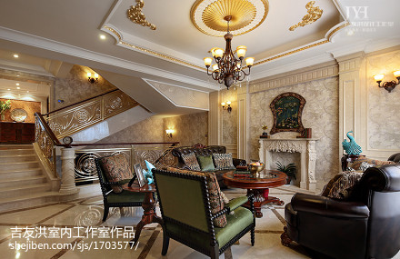 2018面积130平别墅客厅美式装饰图别墅豪宅美式经典家装装修案例效果图