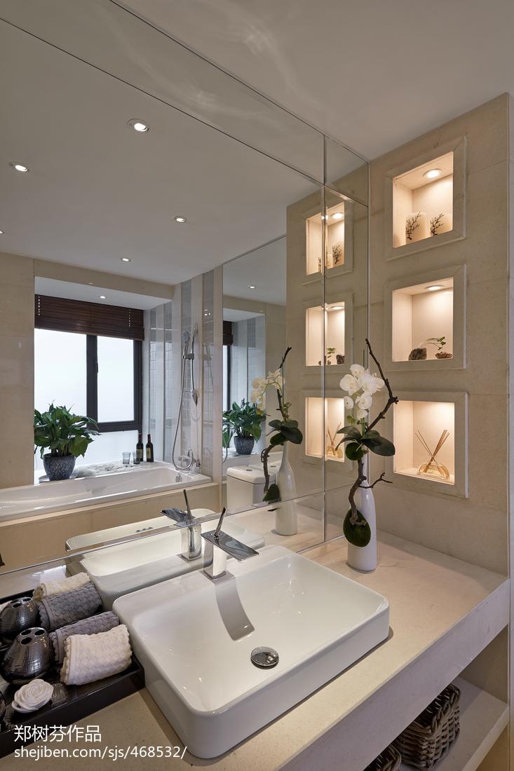 现代中式样板房卫生间装修效果图大全中式现代设计图片赏析