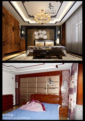 面积95平中式三居卧室装修实景图片