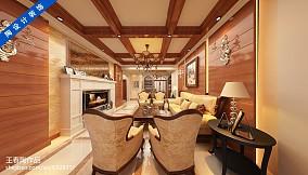 114平米美式复式客厅装修效果图片大全