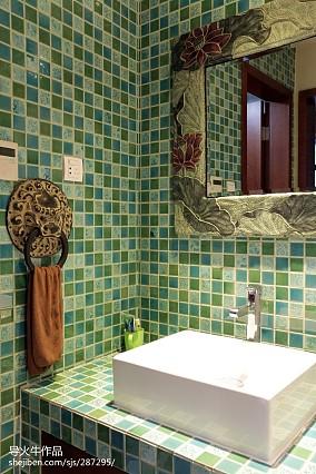 2018大小128平别墅卫生间中式装修设计效果图