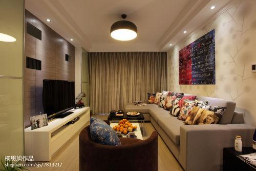 精选85平方二居客厅现代欣赏图片大全客厅窗帘81-100m²二居现代简约家装装修案例效果图