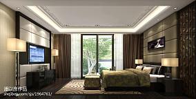 热门面积113平别墅卧室中式装修实景图
