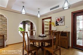热门面积93平中式三居餐厅装修效果图片三居中式现代家装装修案例效果图