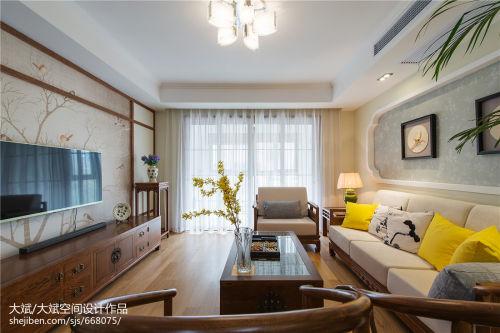 精选大小98平中式三居客厅装修欣赏图片大全客厅电视柜121-150m²三居家装装修案例效果图