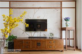 精选107平米三居客厅中式装修图三居中式现代家装装修案例效果图