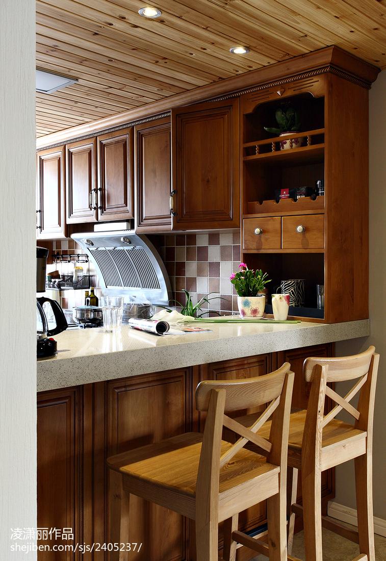 美式风格吧台吊顶装修设计图美式经典设计图片赏析