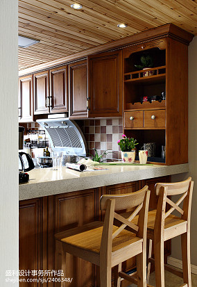 精选102平米三居厨房美式装修设计效果图片大全