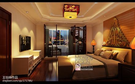 热门133平方混搭别墅卧室装修欣赏图片大全卧室