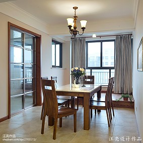面积91平新古典三居餐厅装修效果图片大全厨房美式经典设计图片赏析