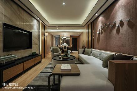 中式客厅装修欣赏图样板间中式现代家装装修案例效果图