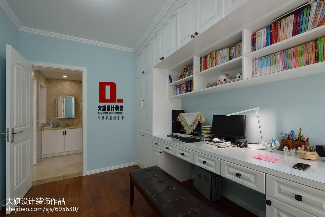 美式风格书房电脑桌装修设计功能区2图美式经典功能区设计图片赏析