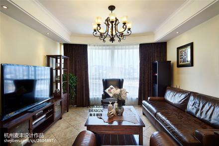 热门106平米三居客厅美式装修图片大全