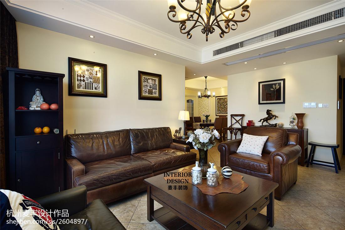 简约美式客厅时尚仿皮沙发家居设计图片客厅美式经典客厅设计图片赏析