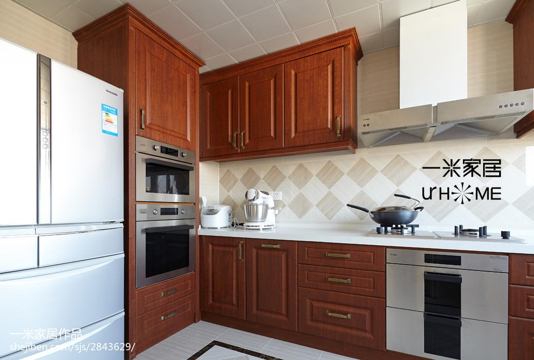 华丽117平欧式四居装饰美图餐厅欧式豪华厨房设计图片赏析