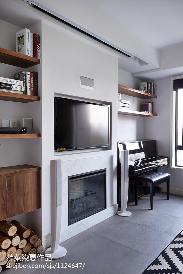 北欧简约小户型壁炉装修效果图客厅现代简约客厅设计图片赏析