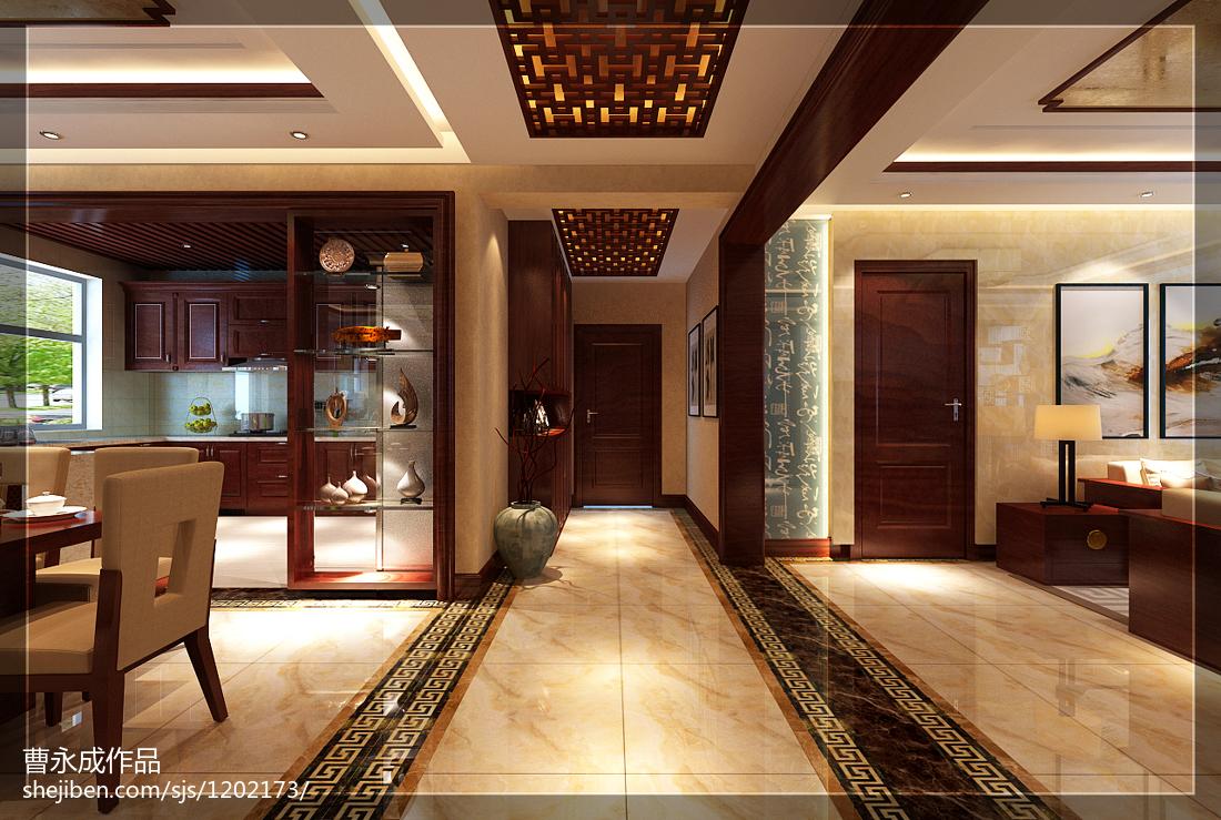 质朴760平中式别墅过道效果图功能区中式现代功能区设计图片赏析